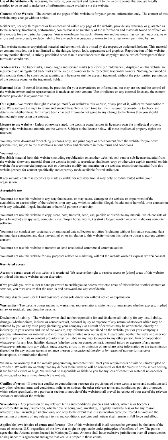 New York Terms and Conditions